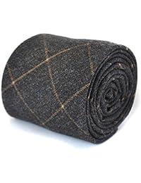 Frederick Thomas skinny grey and orange checked tweed wool tie