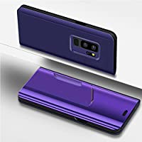 Funda Galaxy S9 Plus,Surakey Galaxy S9 Plus Clear View Standing Cover Funda para Samsung Galaxy S9 Plus,Translucent Window View Flip Wallet Stand Cover,Make Up Mirror espejo,Case For Samsung Galaxy S9 Plus,Flip View Case Folio Stand Cover Caja del Teléfono Móvil para Galaxy S9 Plus,Galaxy S9 Plus Mirror Funda,Flip Stand Stand Plegable y Soporte Mirror Funda del Teléfono Móvil Caja del Teléfono Ultra Thin Book PC Shock Absorbing Case Teléfono móvil Shell Cover para Samsung Galaxy S9 Plus,Púrpura