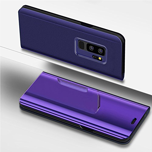 kompatibel mit Galaxy S9 Plus Hülle Spiegel,Überzug Spiegel Clear View PU Leder Tasche Flip Schutzhülle Brieftasche Handyhülle Handytasche Flip Cover Wallet Tasche Cover für Galaxy S9 Plus (Lila)