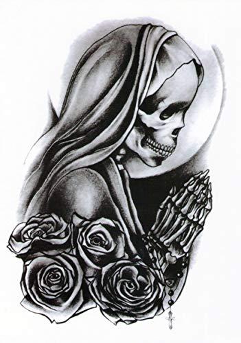 Temporanei tattoos temporary tattoo falso tattoo-donna rose teschio,
