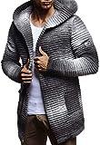 LEIF NELSON Herren Strickjacke Slim Fit   Männer Jacke mit Kapuze   Moderne Kapuzenpullover-Sweatjacke Hoodie   LN5715