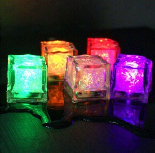 12x Flash Ice Cube LED Farbe Luminous in Wasser Nachtlicht Party Hochzeit Dekor
