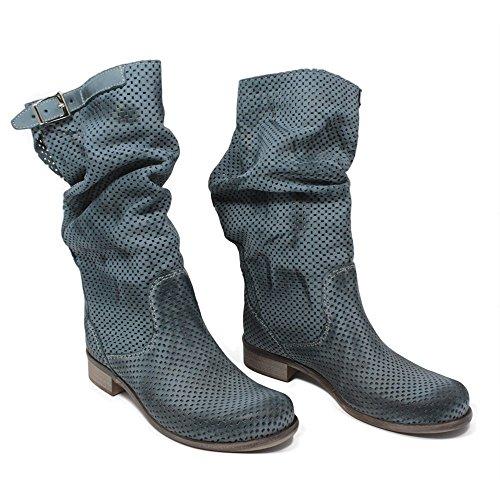 Stivali Traforati Biker Boots Estivi Metà Polpaccio Donna In Time 0227 Jeans in Vera Pelle Made in Italy Jeans