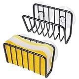 Porte éponges Cuisine, Toplife 2 pcs Porte-éponges avec 8 Ventouses Parfait pour la Cuisine et la Salle de Bain Support Eponge, Savon, Brosses à Vaisselle etc