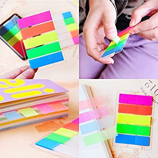 AUAUDATE 100pcs Fluorescence Sticky Notes Memo Flags Bookmark Marker Tab Stickers