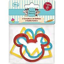 ALMACENESADAN, 0420, Pack 3 cortadores de galletas Disney Mickey Mouse; producto de plástico
