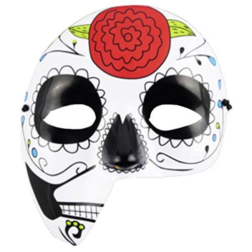 e Totenmaske La Catrina Halbmaske Halloween Sugar Skull Tag der Toten Day of The Dead Dia de los Muertos Calavera (Halbmaske Blume (Plastik)) ()