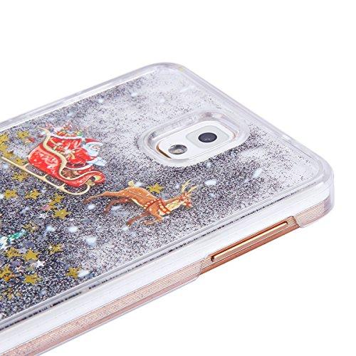 Für Samsung Galaxy Note 3 Hülle Glitzer Transparent Liquid Hardcase,Galaxy Note 3 Hülle Durchsichtig 3D Kreative Liquid Fließen Flüssig Bling Hülle Hart PC Hüllen Case,EMAXELERS Galaxy Note 3 Hülle Fl I Christmas Liquid 5