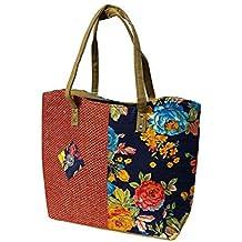 Ladies Trendy Handbag, Women's Trendy flower Canvas Design Jute & Cotton Handbag