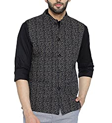 Shaftesbury London Mens Cotton Nehru Jacket (H2206--38, Black, 38)