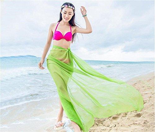UK_Stone Muttertagsgeschenk Damen Übergroesse Einfarbig Sarong Pareo Strandtuch Wickeltuch Bikini Sonnenschutz Decke Cover-up Hellgrün
