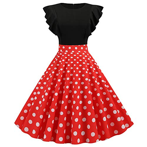 YEZIJIANG Damen 1950er Vintage Cocktailkleid Rockabilly Retro Schwingen Kleid Faltenrock Polka Dots Pinup Blumen Partykleider Audrey Hepburn Abendkleid Knielangen