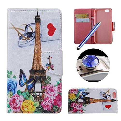 Etche Schutzhülle für iPhone 6/6S Plus 5.5 Zoll Ledertasche,iPhone 6/6S Plus 5.5 Zoll HandyHülle bunt Muster,iPhone 6/6S Plus 5.5 Zoll wallet Schutzhülle, niedlich bunt kreativ hübsch Blumen Flip Cove Eiffelturm Herz