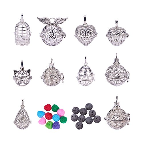 Pandahall Elite 1 Set Hollow Messing Perlen Käfig Anhänger Funde mit Lava Perlen und Pompons Platin für Schmuck Herstellung (Elite-käfig)
