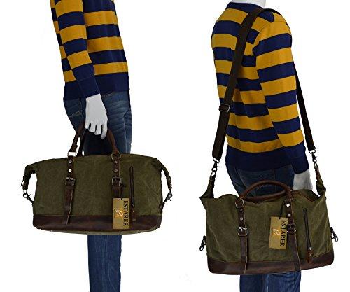 Estarer Borsone Borsa da Viaggio per Sport Weekend Bag uomo donne di tela e pelle 32 Litro Esercito verde Grigio Version Grande