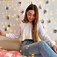 Flamingueo 200 LED Fairy Lights - 200 LED 20 M 30 Clips for Photos, LED Strips Lights, Fairy Lights Bedroom, LED Lights for Polaroid Photos, LED Lights Bedroom Decoration, (30 Wood Clips 20 Metres)