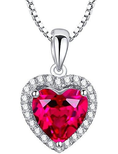 Arco Iris Jewelry Colgante de collar de la mujer de plata de ley con rubí, corazón de San Valentín 4 quilates, cadena de veneciana, 46cm