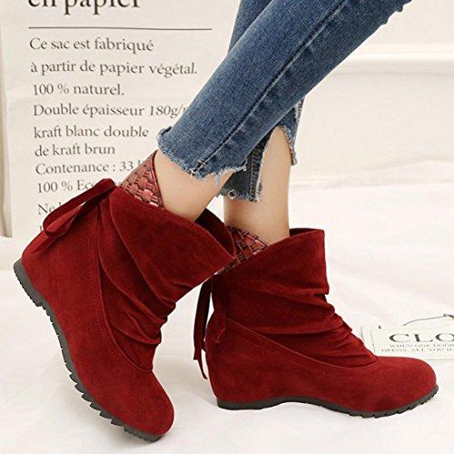 Longra Donne Maglia in pizzo-up gregge materiale superiore scarponi invernali scarponi scarponi corti Rosso
