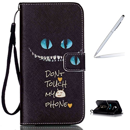 Trumpshop Smartphone Case Coque Housse Etui de Protection pour Samsung Galaxy S6 + This iPhone is Locked + Smartphonecoque Portefeuille PU Cuir Anti-Choc Don't Touch My Phone (Impliquer)