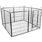 Songmics Recinzione Recinto per Cani Conigli Animali di Ferro 100 x 80 cm Grigio PPK81G
