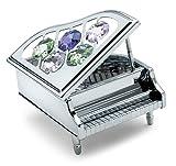Anne Fuzeau Creation Piano de Cola Miniatura - Color Plateado - Crystocraft Objeto de decoración con auténticos Cristales Swarovski - Regalo música