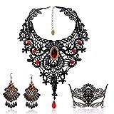 Schwarze Spitze Halskette und Ohrringe Set , BagTu Gothic Lolita Red Anhänger Halsband für ein Halloween-Kostüm und Hochzeit