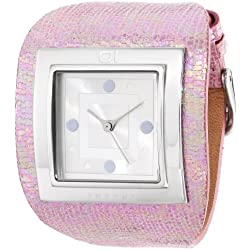 01TheOne AN01M01 Stainless Steel Case Pink Leather Mineral Women's Watch
