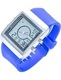 Bellos XXL Hombres Reloj De Pulsera Azul Plateado Analógica Digital Metal Alarma Fecha Luz