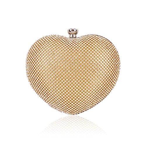 Damara® Damen Strass Herz Handtasche Süße Clutches Gold