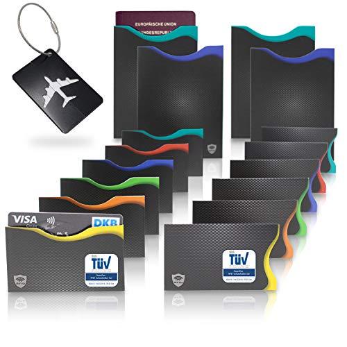 Amazy Protection cartes de crédit sans contact (lot de 16) avec étiquette bagage – Protection carte RFID contre vol de données avec codage couleur pour cartes de crédit