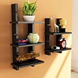 Black Wooden Ladder Wall Shelves/ Wall S...