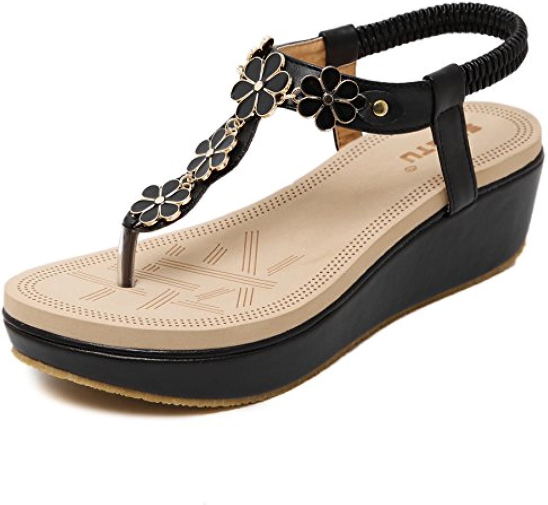 GUOCU Donna Scarpe Boho Clip Toe Wedge Heel Strass Elastico da T-Strap Sandali Romani Sandali da Elastico Spiaggia Infradito... Parent f7009f