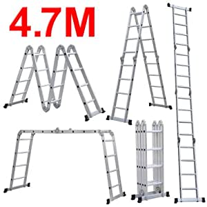 2in1 alu teleskopleiter mehrzweckleiter multifunktionsleiter anlegeleiter leiter klappleiter 5m. Black Bedroom Furniture Sets. Home Design Ideas
