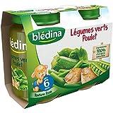 Bledina Pots Sales Legumes Verts Poulet 2X200G 6 mois - ( Prix Unitaire ) - Envoi Rapide Et Soignée