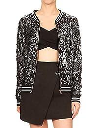 9ee3708fc759 VJGOAL Blouson Zipper - Paillettes Sequins Manches Longues Veste - Femme