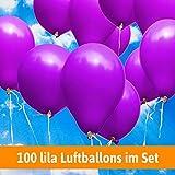 Luftballons für Hochzeit - 100 lila Luftballons - Luftballons Helium geeignet