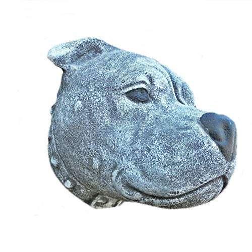Steinfigur Rottweiler Gesicht Frostfest Steinguss Hund Stafford Dogge
