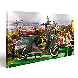 islandburner Bild Bilder auf Leinwand Old Fashion Vespa Italienisches Motorrad mit Mod Style Wandbild, Poster, Leinwandbild NMF