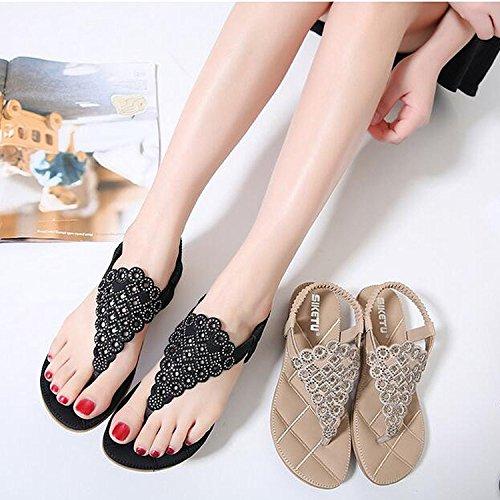 Minetom Femme Fille Eté Strass T-Strap Clip Toe Sandales Plat Plage Chaussures de Plage Arrière Élastique Tissé Noir