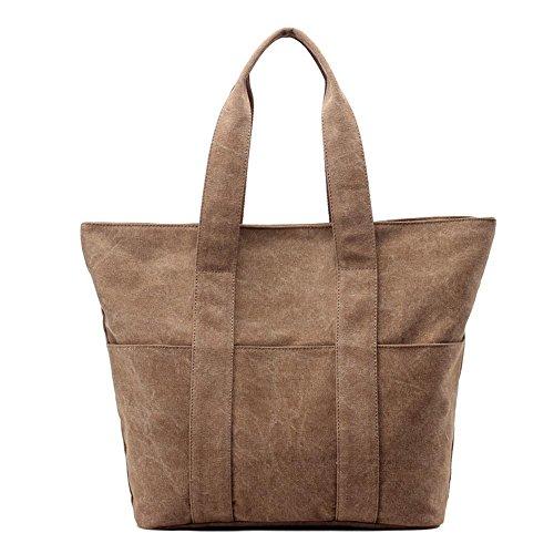 Pacchetto di modo semplice di Messenger della spalla delle signore della borsa della tela di canapa Brown