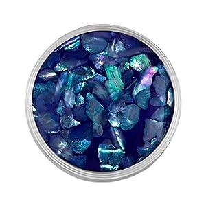 Quiges Edelstahl Austauschbare Mini Coin 12mm Wechselstein Blau Flocken Muschel für Ringe-Ohrringe-Anhänger-Armband Halter
