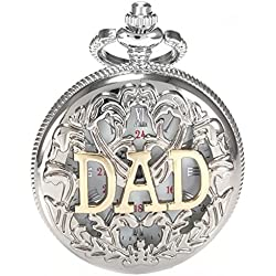 AMPM24 Women Mens Silver Tone Dad Dangle Pendant Pocket Quartz Watch Chain + AMPM24 Gift Box WPK050