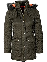 Annie Honeycomb Quilted Fur Hood Coat