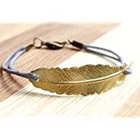 Feder Freundschafts Lederarmband grau/gold, 16-17cm, handmade