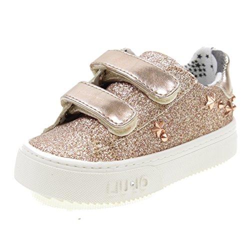 LIU-JO GIRL Scarpe Basse Doppio Velcro con Glitter E E Borchie L1A400170 Cipria Taglia: 23