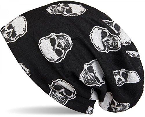 styleBREAKER Beanie Mütze mit aufgesetztem Totenkopf Muster, Unisex 04024047, Farbe:Schwarz