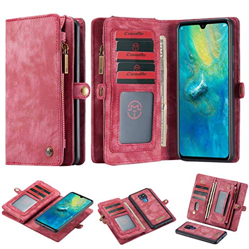 Momoxi Phone Accessory Huawei Handyhülle Handy-Zubehör CASEME für Huawei Mate 20 2-in-1 12 Slots Wallet Zip Leather Case lite hülle