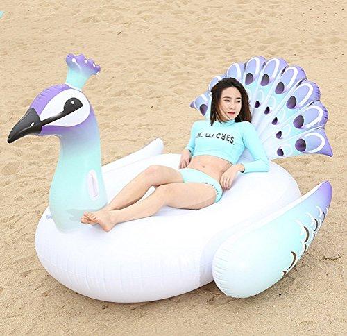 Maison Jardin - Grande salvagente gonfiabile a forma di pavone, per feste in piscina, gioco gonfiabile estivo, Bianco 02, 200x130x170cm