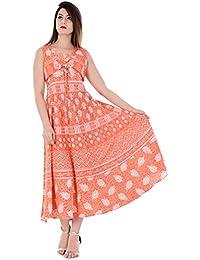 Vaidiki Women's Multi-coloured Floral Printed Designer Anarkali Flared Cotton Kurta Ankle Length Midi Dresses