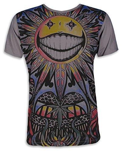 Mirror Herren T-Shirt - Die Psychedelische Sonne Größe M L XL Hanf-Blatt Goa Party Sommer PSY-Trance (Grau L)